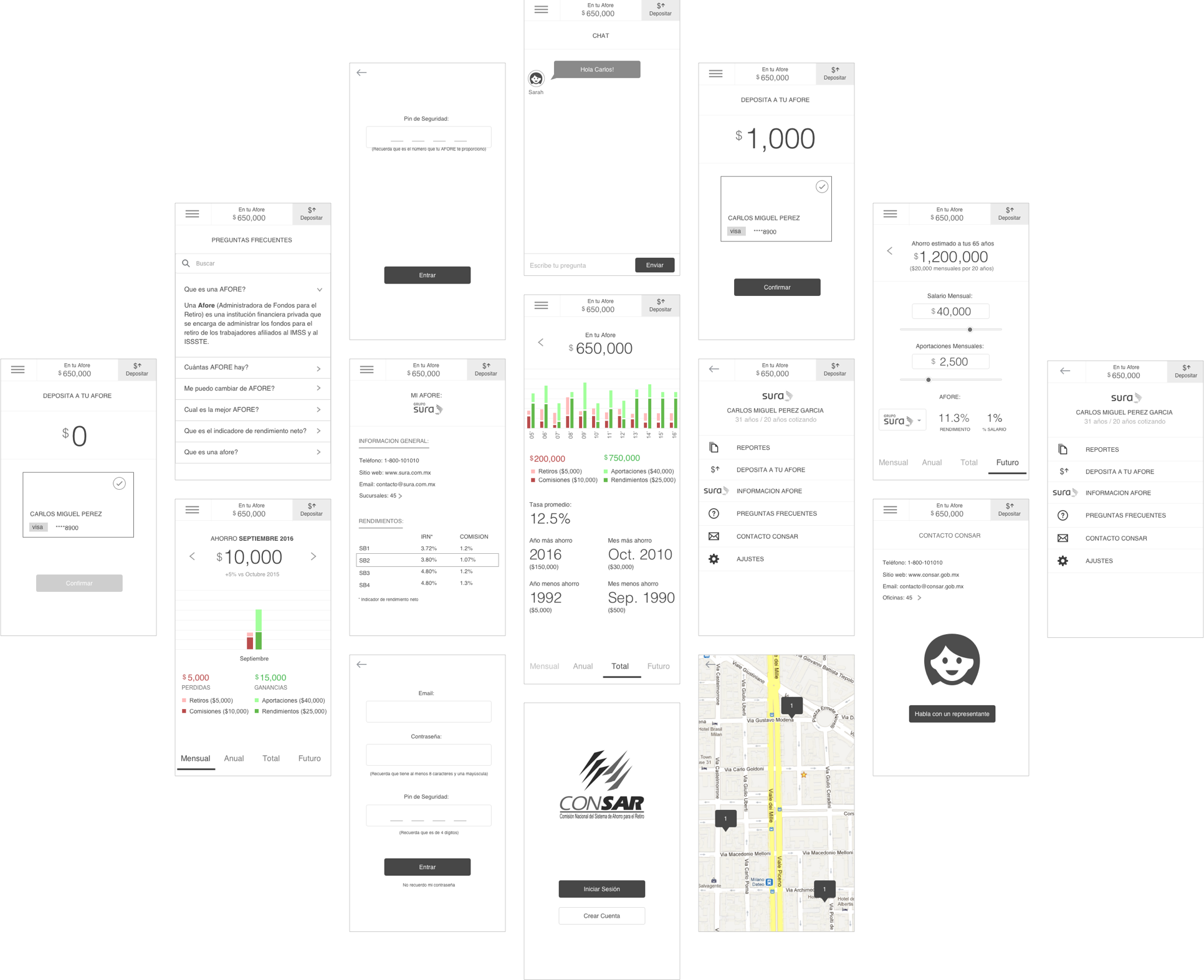 Afore Wireframes